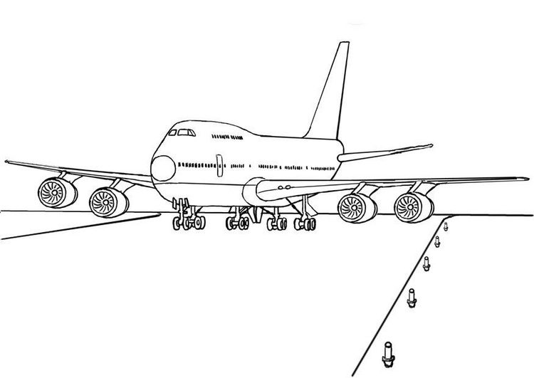 747 Airplane Coloring Page & Coloring Book