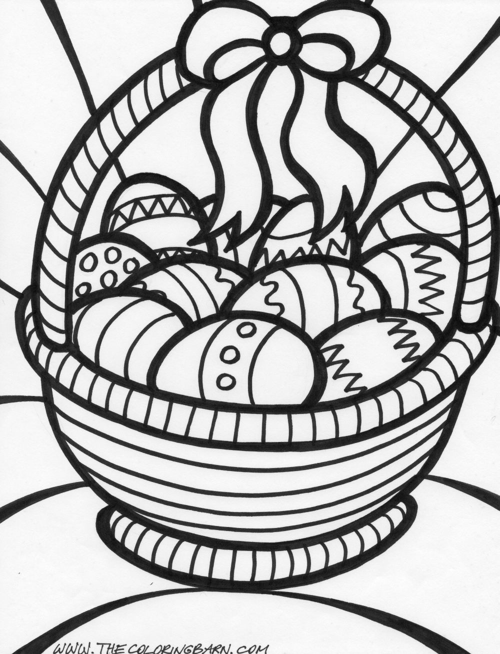 easter basket coloring page - Easter Basket Coloring Pages