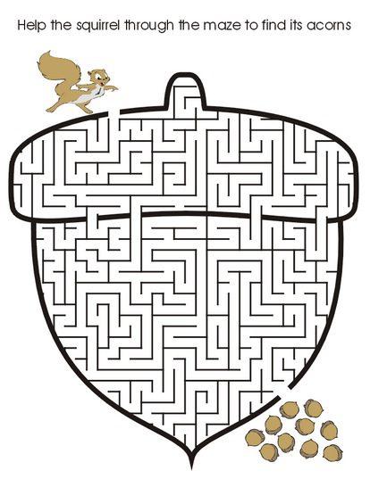 b maze coloring page acorn printable maze - Maze Coloring Pages