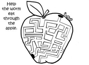apple-worm-coloring-maze