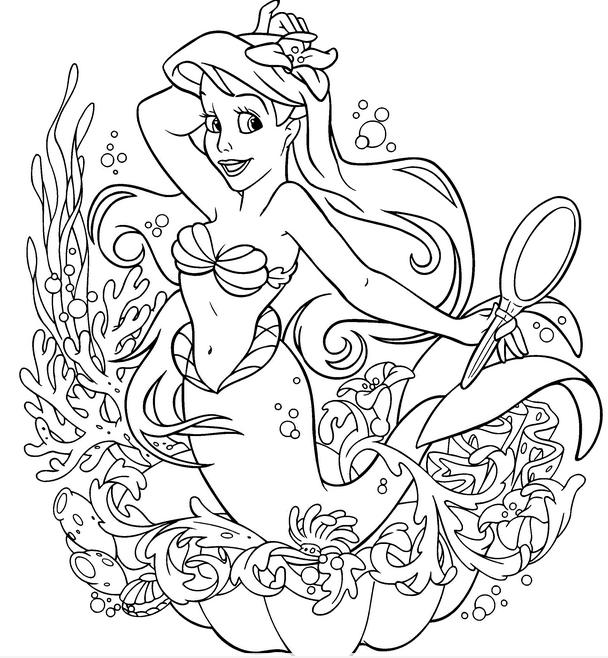 Ariel Princess Coloring Page Coloring Book