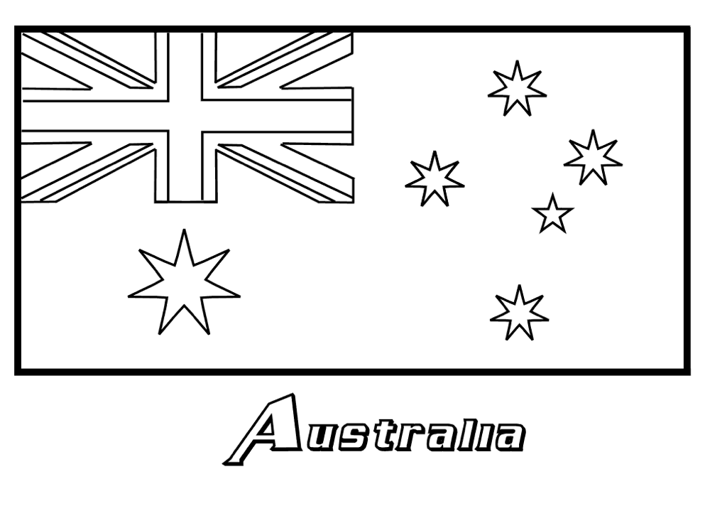 Printable Australia Flag Coloring Page