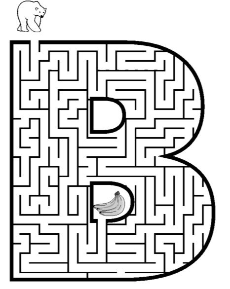 Letter B Maze Printable Coloring Book