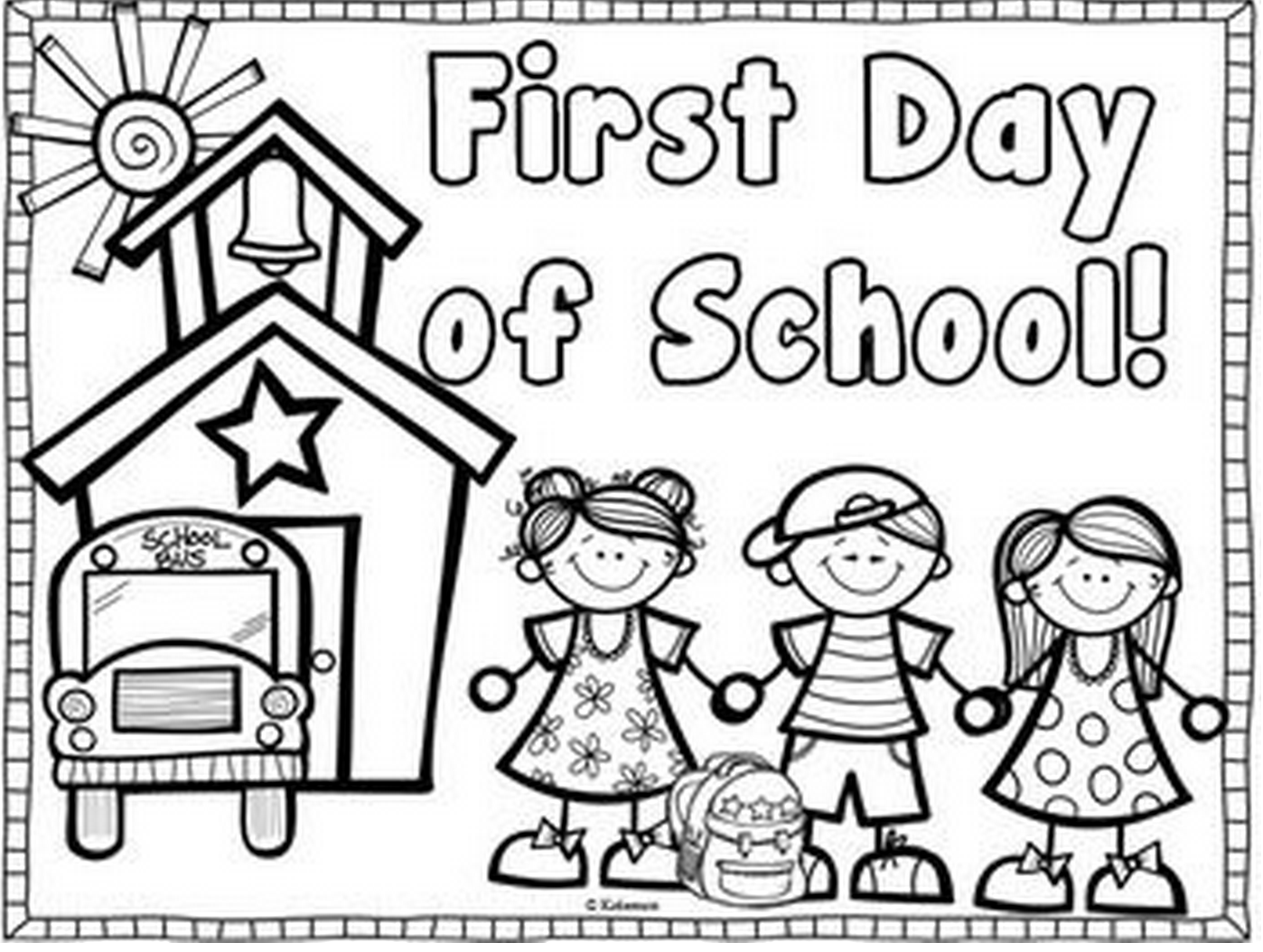 Printable first day of school coloring page for Back to school coloring pages free printables