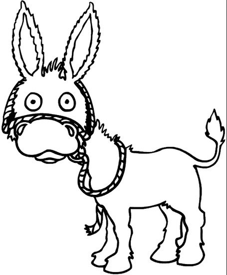 Cartoon Donkey Coloring Page amp