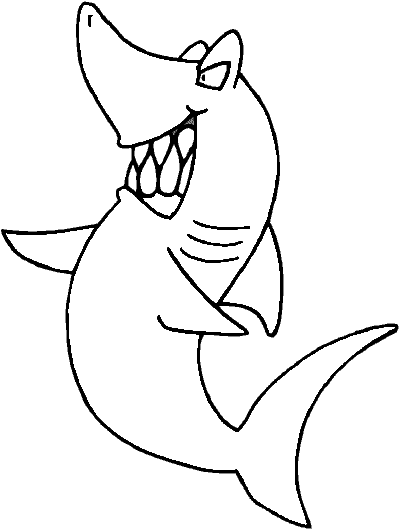 Cartoon Shark Coloring Page