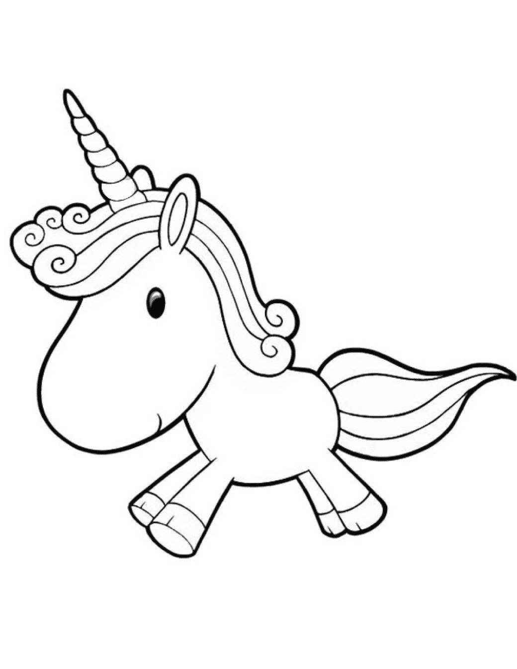 Genial Cartoon Unicorn Coloring Page