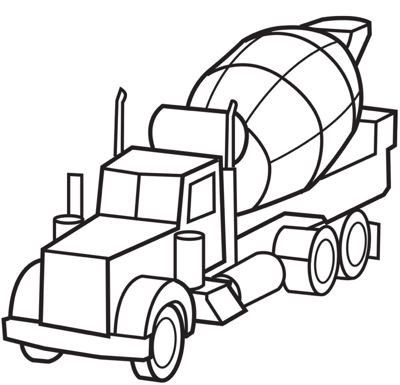 Cement Truck Coloring Page & Coloring Book