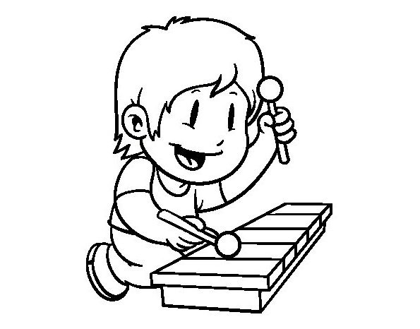Printable Child Xylophone Coloring Page