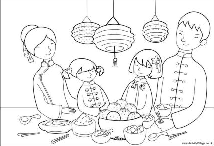 Chinese New Year Family Coloring Page Coloring Book Family Coloring Page