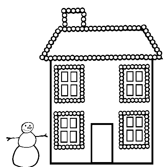 Printable Christmas House Coloring Page