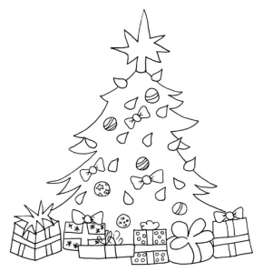 Christmas Tree Presents Coloring Page
