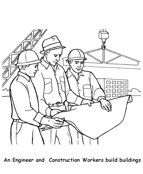 Construction Workers Coloring Page & Coloring Book