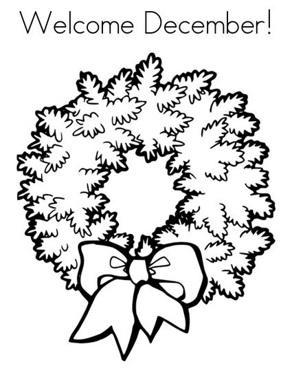 december wreath coloring page - Wreath Coloring Page