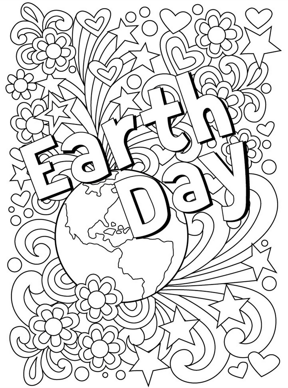 a coloring page for earth day