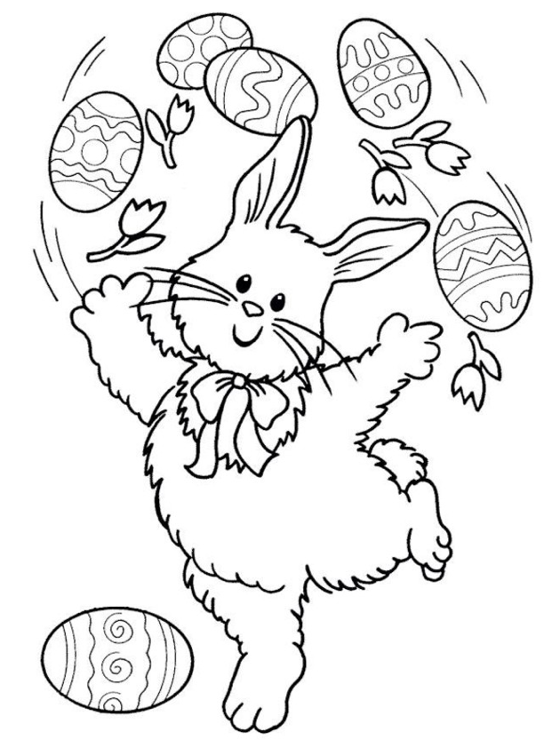 Simple easter bunny coloring pages