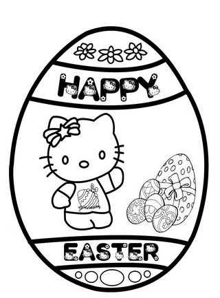 Happy Easter Kitty Coloring Page & Coloring Book