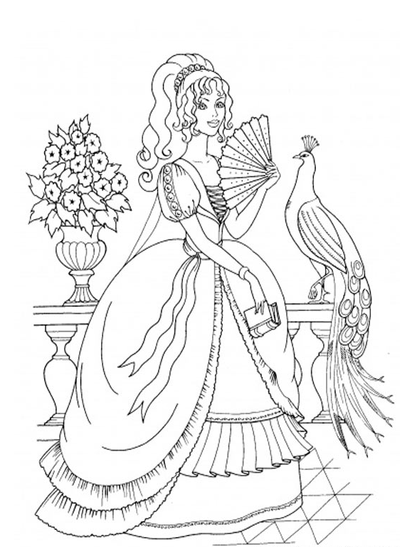 fancy princess coloring page - Princess Color Pages