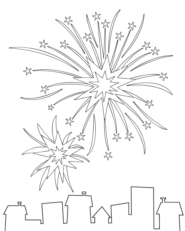 Fireworks Coloring Page Coloring Book
