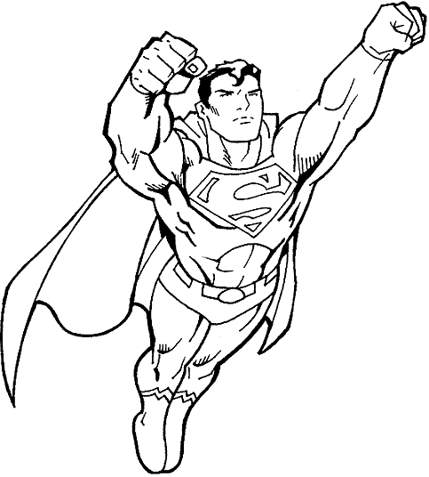 superhero flying colouring pages