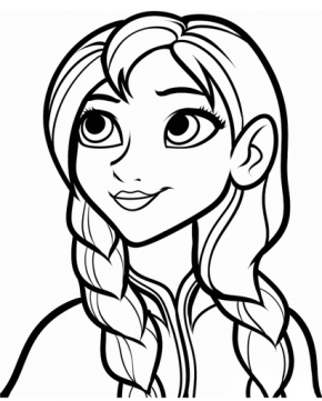 frozen anna fancy princess coloring page