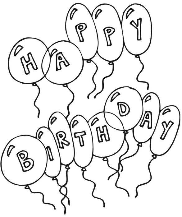 Birthday Items Colouring Pages