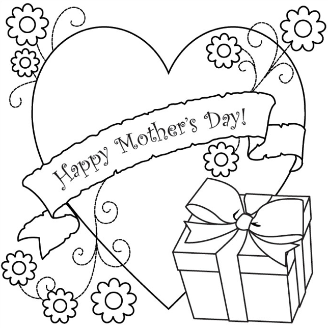 Mothers Day Coloring Page Gift Coloring Book