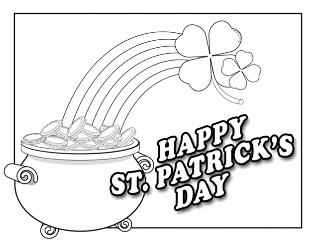 Happy St Patrick\'s Day Coloring Page & Coloring Book