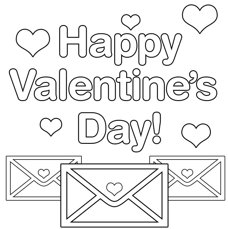 Happy Valentines Day Coloring Page & Coloring Book
