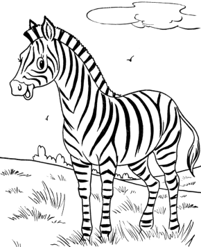 happy zebra coloring page - Zebra Coloring Pages