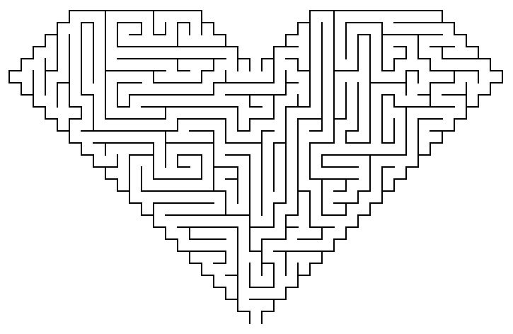 Heart maze coloring page