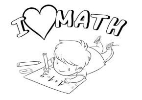 I Love Math & Coloring Book