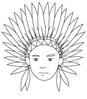 indian head coloring page - Indian Coloring Pages