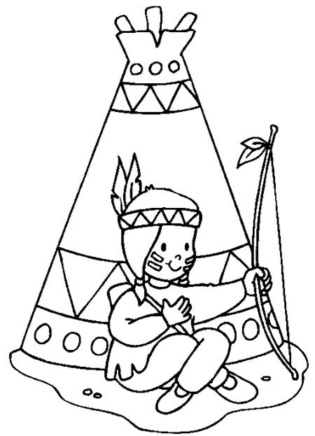 Indian teepee coloring page