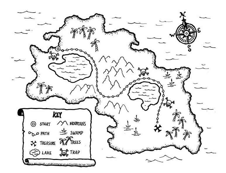 map coloring pages for kindergarten - printable kids treasure map