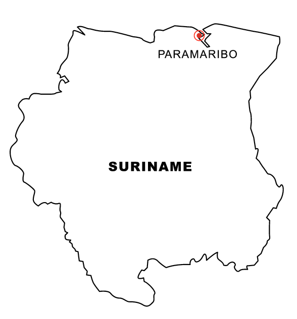 Map of Suriname Coloring Book