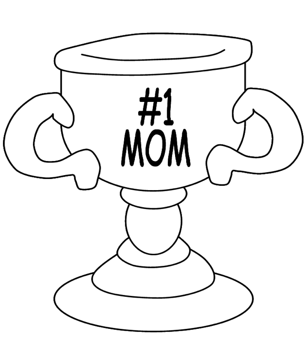 Mothers Day Coloring Page Trophy
