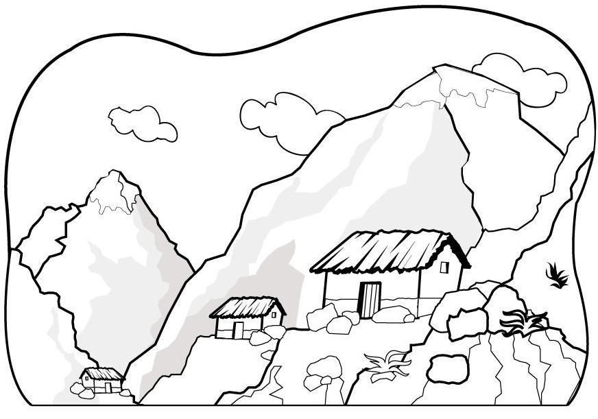 Printable mountain coloring page Coloringpagebookcom