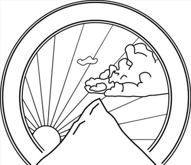 Printable mountain-sunshine-coloring-page - Coloringpagebook.com