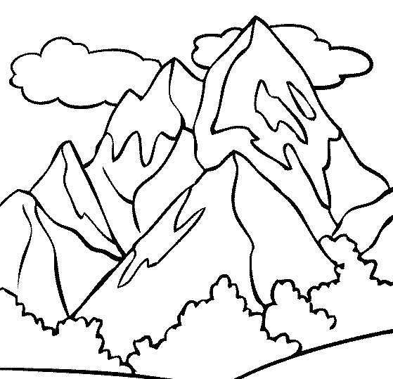 mountain top coloring page - Mountain Coloring Page
