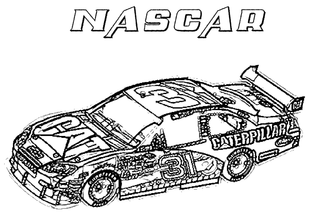 nascar coloring page - Racecar Coloring Pages