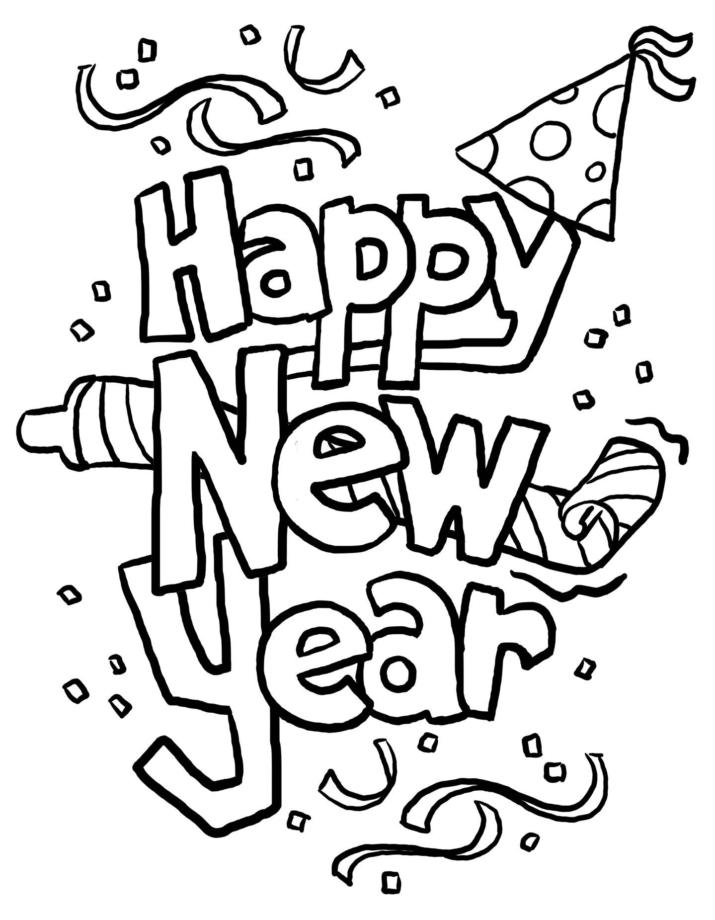 Printable new years coloring page printable for Coloring pages new years