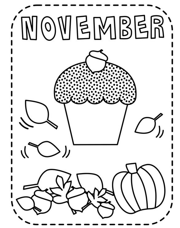 Printable November Fall Coloring Page