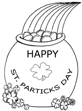 St patricks day cute leprechaun coloring page st for Pot of gold coloring page printable