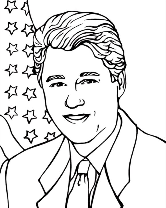 Bill Clinton Coloring Page
