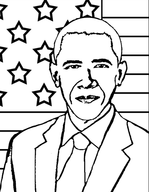 Printable president-obama - Coloringpagebook.com