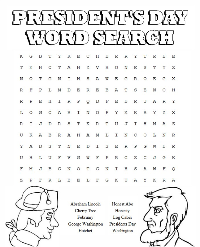 President\'s Day Word Search Activity Page & Coloring Book