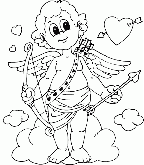 printable cupid coloring page