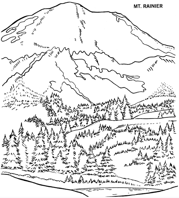 printable rainier mountain coloring page