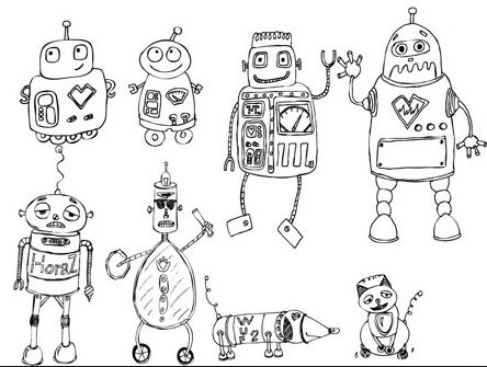 robots coloring page coloring book. Black Bedroom Furniture Sets. Home Design Ideas